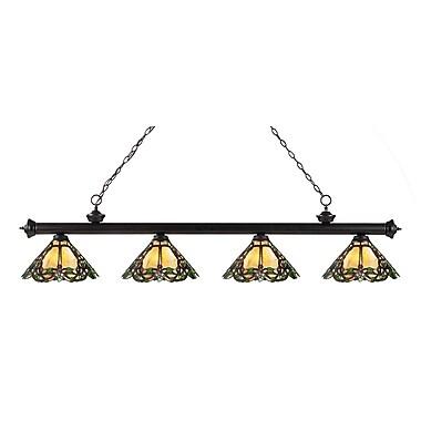 Z-Lite – Luminaire suspendu Riviera au fini bronze pour îlot/table de billard 200-4BRZ-Z14-37, 4 ampoules, Tiffany multicolore