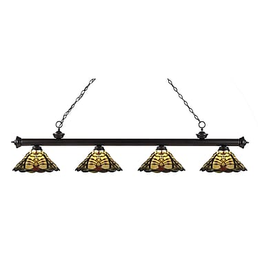 Z-Lite 200-4BRZ-Z14-46 Riviera Bronze Island/Billiard Light Fixture, 4 Bulb, Multi-Coloured Tiffany