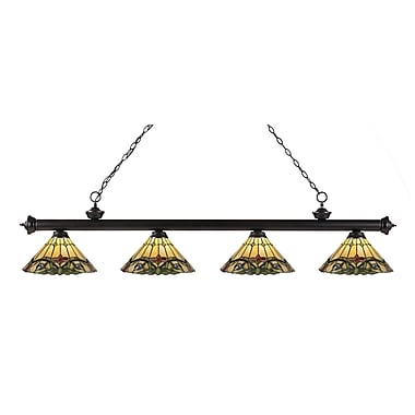 Z-Lite 200-4BRZ-Z14-49 Riviera Bronze Island/Billiard Light Fixture, 4 Bulb, Multi-Coloured Tiffany