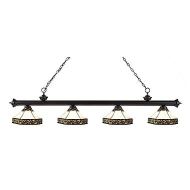 Z-Lite – Luminaire suspendu Riviera au fini bronze pour îlot/table de billard 200-4BRZ-Z16-30, 4 ampoules, Tiffany multicolore