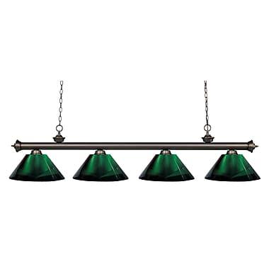 Z-Lite – Luminaire suspendu Riviera au fini bronze antique pour îlot/table de billard 200-4OB-ARG, 4 ampoules, vert