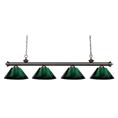Z-Lite 200-4OB-ARG Riviera Olde Bronze Island/Billiard Light Fixture, 4 Bulb, Green