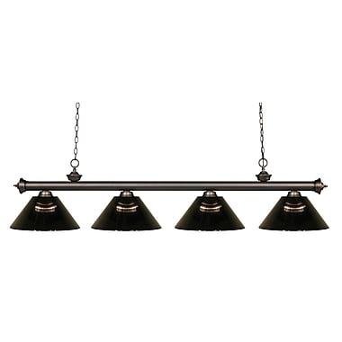 Z-Lite – Luminaire suspendu Riviera au fini bronze antique pour îlot/table de billard 200-4OB-ARS, 4 ampoules, fumée
