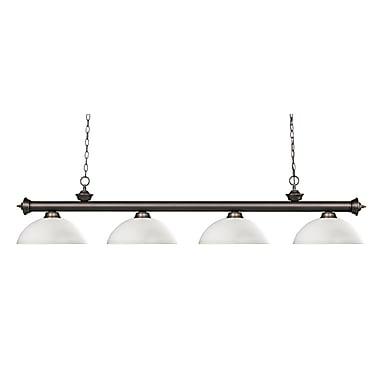 Z-Lite – Luminaire suspendu Riviera au fini bronze antique 200-4OB-DMO14, 4 amp., dôme, opale mate