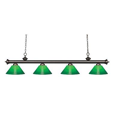 Z-Lite – Luminaire suspendu Riviera au fini bronze antique pour îlot/table de billard 200-4OB-GCG14, 4 amp., boîtier vert