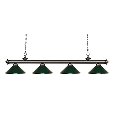 Z-Lite 200-4OB-MDG Riviera Olde Bronze Island/Billiard Light Fixture, 4 Bulb, Dark Green