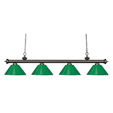 Z-Lite 200-4OB-PGR Riviera Olde Bronze Island/Billiard Light Fixture, 4 Bulb, Green