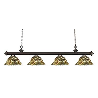 Z-Lite – Luminaire suspendu Riviera au fini bronze antique 200-4OB-R14A, 4 amp., Tiffany multicolore