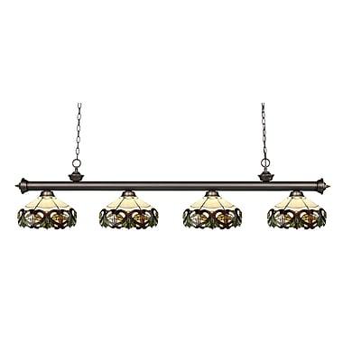 Z-Lite – Luminaire suspendu Riviera au fini bronze antique 200-4OB-Z14-33, 4 amp., Tiffany multicolore