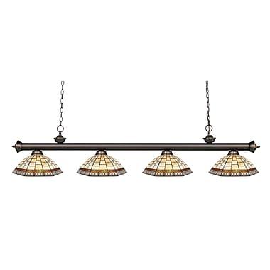 Z-Lite – Luminaire suspendu Riviera au fini bronze antique 200-4OB-Z14-35, 4 amp., Tiffany multicolore
