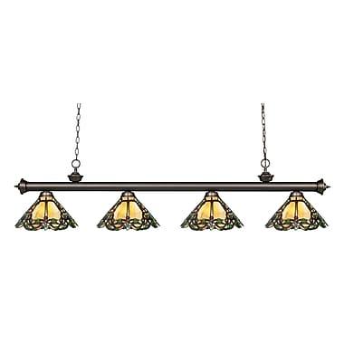 Z-Lite – Luminaire suspendu Riviera au fini bronze antique 200-4OB-Z14-37, 4 amp., Tiffany multicolore
