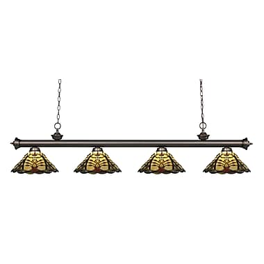 Z-Lite 200-4OB-Z14-46 Riviera Olde Bronze Island/Billiard Light Fixture, 4 Bulb, Multi-Coloured Tiffany