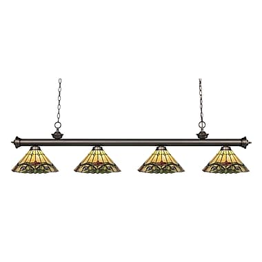 Z-Lite 200-4OB-Z14-49 Riviera Olde Bronze Island/Billiard Light Fixture, 4 Bulb, Multi-Coloured Tiffany