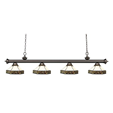 Z-Lite 200-4OB-Z16-30 Riviera Olde Bronze Island/Billiard Light Fixture, 4 Bulb, Multi-Coloured Tiffany