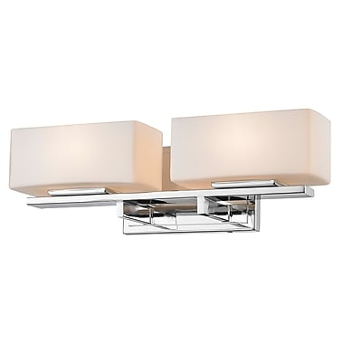 Z-Lite 3029-2V-CH Kaleb Vanity Light Fixture, 2 Bulb, Matte Opal