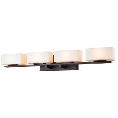 Z-Lite 3029-4V-BRZ Kaleb Vanity Light Fixture, 4 Bulb, Matte Opal