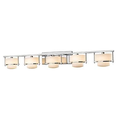 Z-Lite 3030-5V-CH Porter Vanity Light Fixture, 5 Bulb, Matte Opal