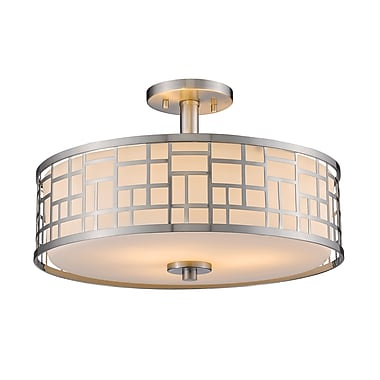 Z-Lite 330-SF16-BN Elea Semi Flush Mount Light Fixture, 3 Bulb, Matte Opal