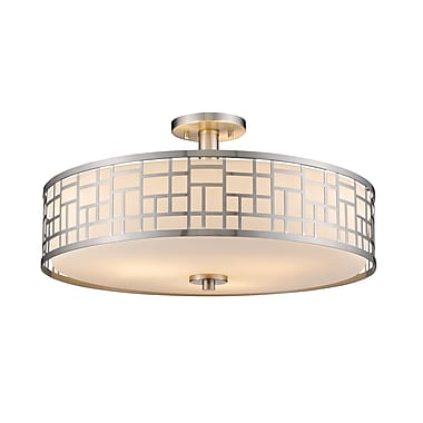Z-Lite 330-SF20-BN Elea Semi Flush Mount Light Fixture, 3 Bulb, Matte Opal