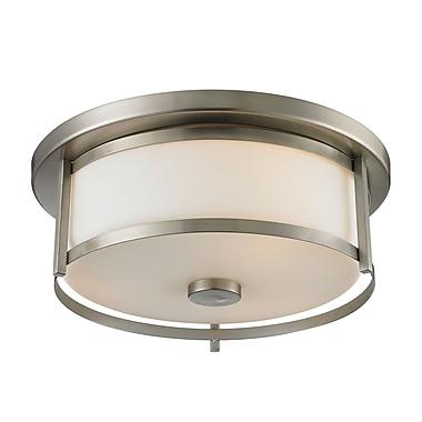 Z-Lite 412F14 Savannah Flush Mount Light Fixture, 2 Bulb, Matte Opal