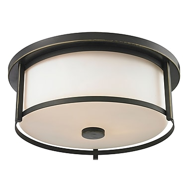 Z-Lite 413F16 Savannah Flush Mount Light Fixture, 3 Bulb, Matte Opal