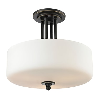 Z-Lite 414SF Cardinal Semi Flush Mount Light Fixture, 3 Bulb, Matte Opal