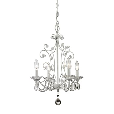 Z-Lite 419WH Princess Chandeliers Mini Chandelier Light Fixture, 4 Bulb, Clear Crystal