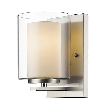 Z-Lite 426-1S-BN Willow Wall Sconce Light Fixture, 1 Bulb, Inner Matte Opal & Outer Clear