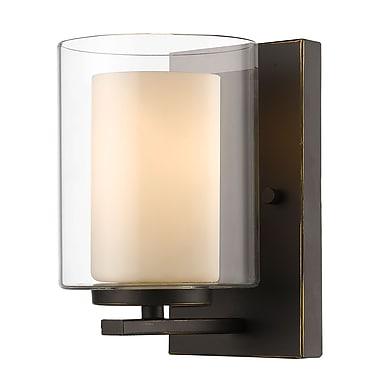 Z-Lite 426-1S-OB Willow Wall Sconce Light Fixture, 1 Bulb, Inner Matte Opal & Outer Clear