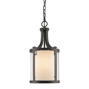 Z-Lite 426-3-OB Willow Pendant Light Fixture, 3 Bulb, Inner Matte Opal & Outer Clear