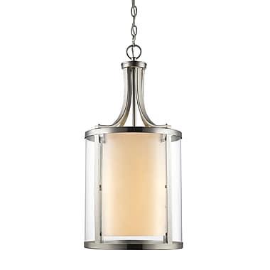 Z-Lite – Luminaire suspendu Willow 426-4-BN, 4 ampoules, intérieur opale mate et extérieur transparent
