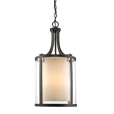 Z-Lite – Luminaire suspendu Willow 426-4-OB, 4 ampoules, intérieur opale mate et extérieur transparent