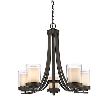 Z-Lite 426-5-OB Willow Chandelier Light Fixture, 5 Bulb, Inner Matte Opal & Outer Clear