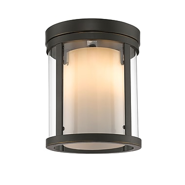 Z-Lite 426F-OB Willow Flush Mount Light Fixture, 3 Bulb, Inner Matte Opal & Outer Clear