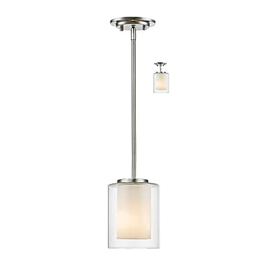 Z-Lite 426MP-BN Willow Mini Pendant Light Fixture, 1 Bulb, Inner Matte Opal & Outer Clear