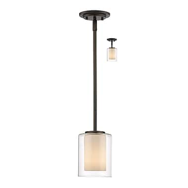 Z-Lite 426MP-OB Willow Mini Pendant Light Fixture, 1 Bulb, Inner Matte Opal & Outer Clear