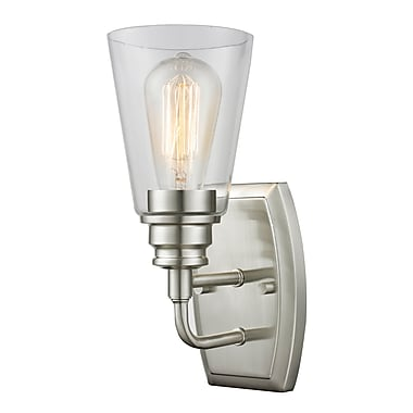 Z-Lite 428-1S-BN Annora Wall Sconce Light Fixture, 1 Bulb, Clear