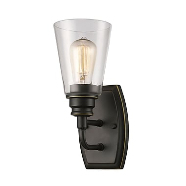 Z-Lite 428-1S-OB Annora Wall Sconce Light Fixture, 1 Bulb, Clear