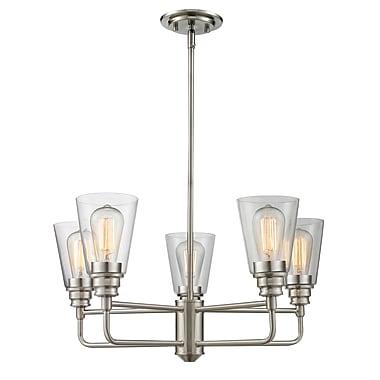 Z-Lite 428-5-BN Annora Chandelier Light Fixture, 5 Bulb, Clear
