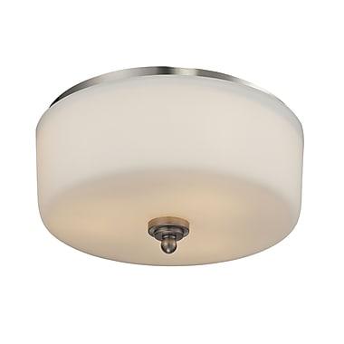 Z-Lite 434-F3-BN Cardinal Flush Mount Light Fixture, 3 Bulb, Matte Opal