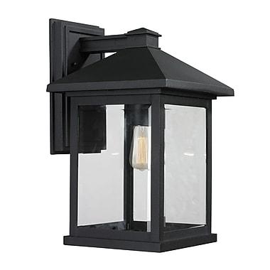 Z-Lite – Luminaire extérieur Portland 531B-BK, 1 ampoule, biseauté transparent