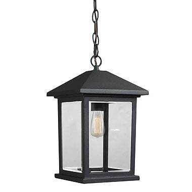 Z-Lite – Luminaire extérieur Portland 531CHM-BK, 1 ampoule, biseauté transparent