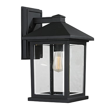 Z-Lite 531M-BK Portland Outdoor Light Fixture, 1 Bulb, Clear Beveled