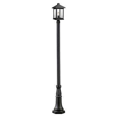 Z-Lite 531PHBR-518P-BK Portland Outdoor Light Fixture, 1 Bulb, Clear Beveled