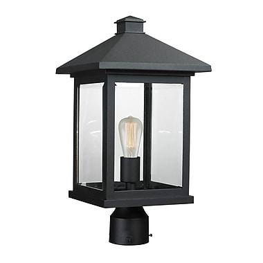 Z-Lite 531PHBR-BK Portland Outdoor Light Fixture, 1 Bulb, Clear Beveled