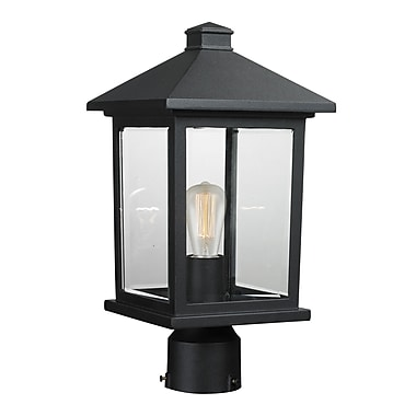 Z-Lite – Luminaire extérieur Portland 531PHMR-BK, 1 ampoule, biseauté transparent