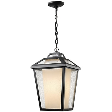 Z-Lite 532CHB-BK Memphis Outdoor Light Fixture, 1 Bulb, Clear Seedy + Matte Opal
