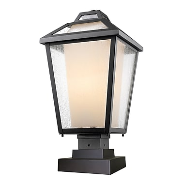 Z-Lite 532PHBS-SQPM-BK Memphis Outdoor Light Fixture, 1 Bulb, Clear Seedy + Matte Opal