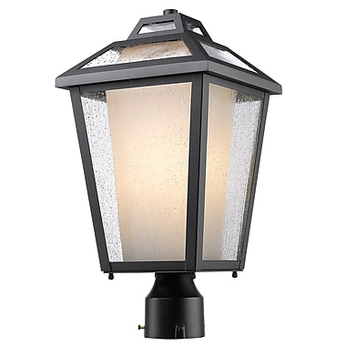 Z-Lite 532PHMR-BK Memphis Outdoor Light Fixture, 1 Bulb, Clear Seedy + Matte Opal