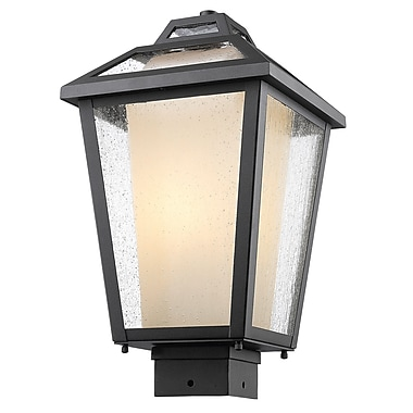 Z-Lite 532PHMS-BK Memphis Outdoor Light Fixture, 1 Bulb, Clear Seedy + Matte Opal